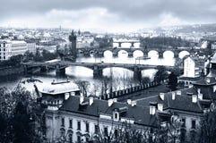 Bridges. Surprising panorama of ancient bridges of Prague Stock Photo