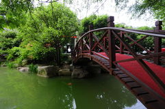 Bridges, trees, water. Asian beautiful garden with bridges tree Royalty Free Stock Images