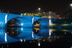 Bridge over River Po in Turin. Scenic view of bridge over river Po illuminated blue at night, Turin, Italy Stock Image