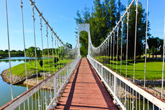 Bridges in Udon Thani parks. White bridge in Udon Thani parks Royalty Free Stock Images