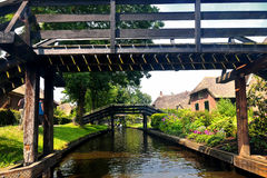 Bridges and waterways in the picturesque Giethoorn, Holland Royalty Free Stock Photography
