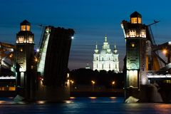 Bridges of the white nights stock images