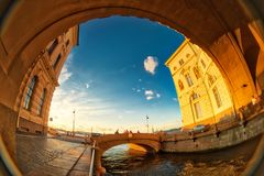 Bridges of Winter Channel, Russia, Saint-Petersburg. Fish eye lens creating a super wide angle view stock photos