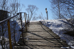 Bridges. Winter  landscape  new  england  forest  snow  bridges Royalty Free Stock Images