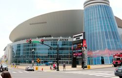 The Bridgestone Arena, Nashville Tennessee. Bridgestone Arena (originally Nashville Arena and formerly Gaylord Entertainment Center and Sommet Center) is an all Royalty Free Stock Photography
