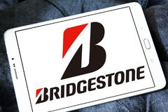 Bridgestone tyre manufacturer logo. Logo of bridgestone tyre manufacturer on samsung  tablet . Bridgestone Corporation is a multinational auto and truck parts Royalty Free Stock Photos