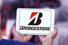 Bridgestone tyre manufacturer logo. Logo of bridgestone tyre manufacturer on samsung  tablet . Bridgestone Corporation is a multinational auto and truck parts Stock Images