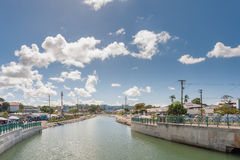 BRIDGETOWN, BARBADOS - MARCH 10, 2014: Cityscape with rive and local architecture in Bridgetown, Barbados. Caribbean Sea Island. Royalty Free Stock Photography