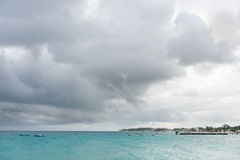 BRIDGETOWN, BARBADOS - MARCH 16, 2014: Landscape of Miami Beach in Barbados with Boats Stock Image