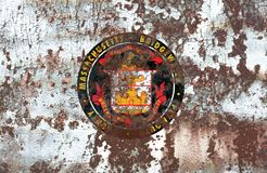 Bridgewater-Stadt-Rauchflagge, Staat Massachusetts, Vereinigte Staaten Stockfotografie