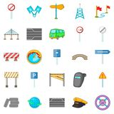 Bridgework icons set, cartoon style Royalty Free Stock Images