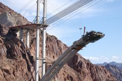 Bridging the gap. The construction of a bridge over the Grand Canyon Stock Photography