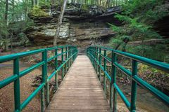Bridging The Gap. Footbridge over a gorge. Hocking Hills State  Park. Logan, Ohio Royalty Free Stock Photos