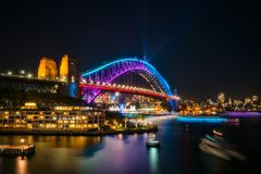 Bridging the gap: from the past but into the future. Sydney, Australia -May 25, 2018: Vivid Sydney Festival in Sydney Harbour, Australia. View of Sydney Harbour Stock Images
