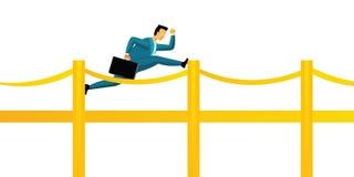 Bridging gaps. Businessman running on a bridge Royalty Free Stock Images