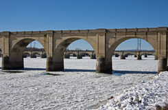Bridging the Ice. Ice jams the Susquehanna River in and around the many bridges serving the city of Harrisburg PA Stock Image
