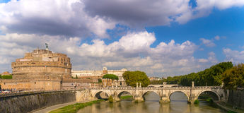 Bridging Rome. View across the river Tiber in Rome, Italy Royalty Free Stock Photos