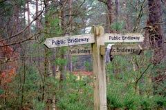 Bridleway pubblici a quattro vie firmano dentro un terreno boscoso immagine stock libera da diritti