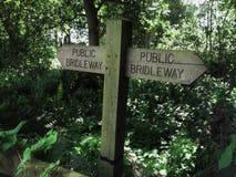 bridleway tecken Fotografering för Bildbyråer
