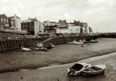 Bridlington Harbour at Low Tide. Palladium tone Stock Image