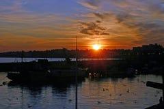 Bridlington harbour sunset Royalty Free Stock Image