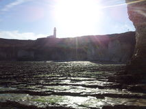 Bridlington lighthouse. Sunny day and Bridlington lighthouse from the shore Royalty Free Stock Image