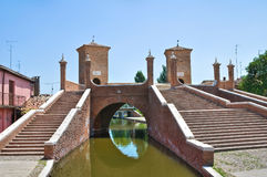 bridżowy comacchio Emilia Italy romagna trepponti Fotografia Stock