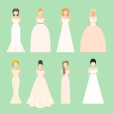 Brids In Wedding Dresses stock illustration
