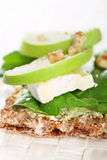Brie, apples and walnut cracker Royalty Free Stock Photos