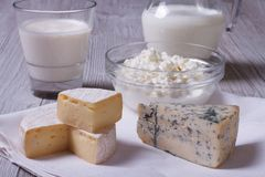 Brie, blue cheese, cottage cheese and milk on the table closeup Stock Images