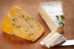 Brie and Blue Shropshire cheese Stock Photo