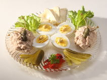 Brie, boiled eggs and tuna pate Royalty Free Stock Photo