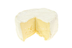 Brie cheese. Creamy Brie cheese isolated on white stock photography