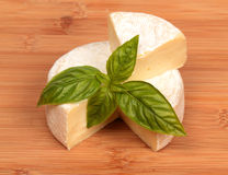 Brie cheese with a basil Royalty Free Stock Image