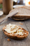 Brie cheese on a bread. Brie cheese on a hot toast, whole wheat bread, for snack. Shallow DOF Stock Photography