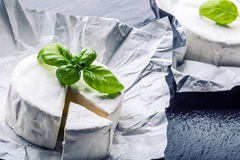 Brie cheese. Camembert cheese. Fresh Brie cheese and a slice on a granite board with basil leaves four colors peper and chili pepe Stock Images