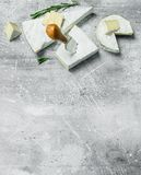 Brie cheese with knife. On a rustic background royalty free stock images
