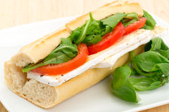 Brie cheese and tomato sandwich Stock Photography