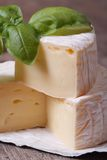 Brie cheese on wooden table with basil macro. vertical Royalty Free Stock Images