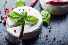 Brie ser Camembert ser Świeży Brie ser i plasterek na granitowej desce z basilów liści cztery kolorów peper i chili pepe Obraz Royalty Free