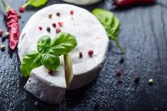 Brie ser Camembert ser Świeży Brie ser i plasterek na granitowej desce z basilów liści cztery kolorów peper i chili pepe Obraz Stock