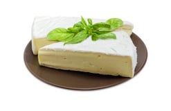 Brie sul piatto marrone su un fondo bianco fotografia stock libera da diritti