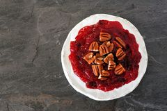 Brie topped with cranberries and pecans Royalty Free Stock Photo