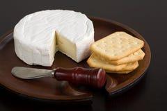 Brie y galletas Foto de archivo libre de regalías