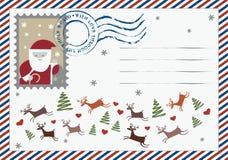 Brief aan de prentbriefkaar van de Kerstman Stock Foto