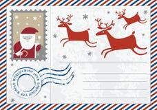 Brief aan de prentbriefkaarillustratie van de Kerstman Royalty-vrije Stock Foto's