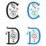 Brief C en D, Kleur en Zwart-wit Stock Foto