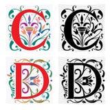 Brief C en D, Kleur en Zwart-wit Royalty-vrije Stock Afbeelding