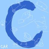 Brief C met illustratie van een auto Stock Foto's