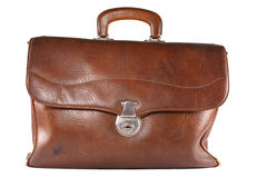 Brief-case. Vintage brown leather brief-case Stock Photography